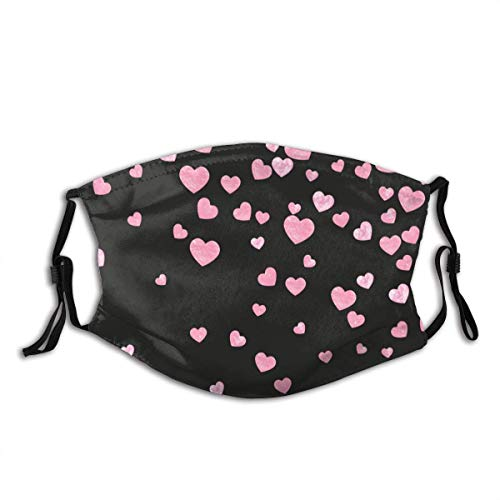 Face Cover Pink Wedding Glitter Confetti with Hearts On Isolated Back Random Falling Sequins with Glossy Sparkles Balaclava Reusable Windproof Anti-Dust Mouth Bandanas with 2 Filters