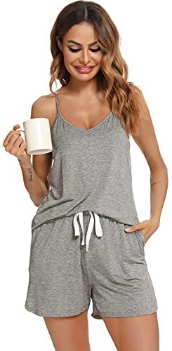 Lovasy Camisones Verano Mujer Pijamas con Cuello en V sin Mangas y Pantalones Cortos con Cordón y Bolsillos Ropa de Dormir PJ Set Pijamas para Mujer 🔥
