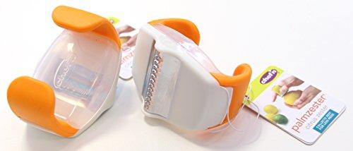 Chef'n Zestenreißer PalmZester, Zitronenschaber mit Klinge aus Edelstahl, Ziseliermesser mit ergonomisch geformtem Körper (Farbe: Gelb, Grün, Orange - nicht frei wählbar), Menge: 1 Stück
