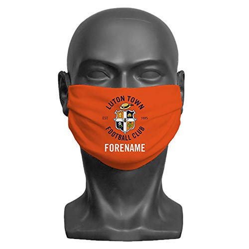 PERSONALISED Luton Town FC Crest Adult Washable Face Mask (Large) | Double Layer | Comfortable Elasticated Ear Loops - Official Merchandise