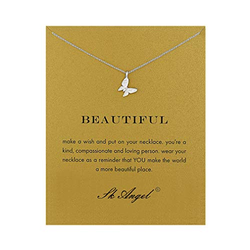 SK Angel Message Card Butterfly Necklace Friendship Starfish Good Luck Elephant Pendant Chain Necklace with Gift Card
