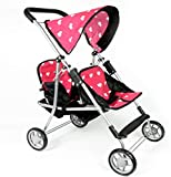 The New York Doll Collection First Doll Twin Stroller - Cutest Heart Design Baby Doll Strollers - Great Toy Gift for Toddlers and Girls