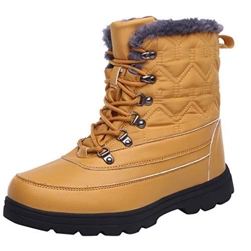 Andouy Damen Winter Mid-High Sneaker Casual Sport Schneeschuhe Warme Wanderschuhe mit Plüsch(40 EU,Gelb)