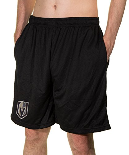 Calhoun NHL Men's Team Logo Air Mesh Shorts (Vegas Golden Knights, Medium)