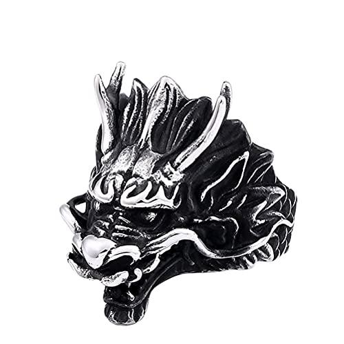 PAMTIER Anillo de Motorista con Cabeza de Dragón Malvado Gótico para Hombre de Acero Inoxidable Plata Negro Tamaño 25