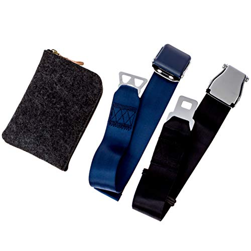 Airplane Seatbelt Extenders Premium 2 Pack for All Airlines | Type A Universal | Type B Southwest | Upgraded Colors & Bonus Felt Travel Case Zipper Pouch for Safe Discreet Storage | by journeyxl