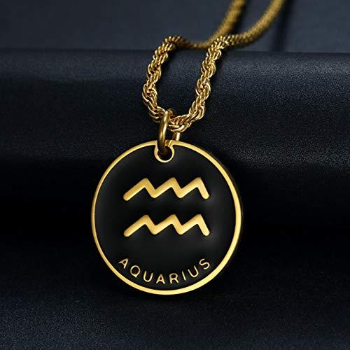 LIUL Signo del Zodiaco 12 constelación Colgante Collar para Mujeres Hombres Color Dorado Acero Inoxidable Mujer Hombre Cadena Regalo Moda, Acuario, 71 cm