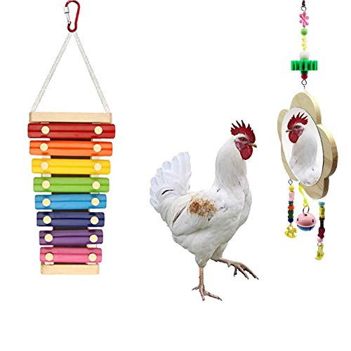 Viowey 2PCS Chicken Xylophone Toys, Chicken Mirror, Chicken Pecking Toy, Suspensible Wood Xylophone Toy with 8 Metal Keys for Hens Parrots