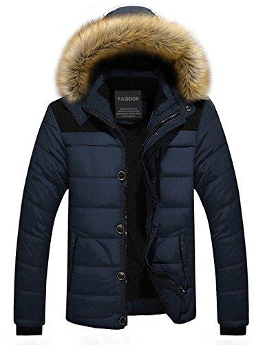 Menschwear Uomo Jacket Down Puffer Giacca Foderato di Pile Incappucciato Piumino Collare di Pelliccia Addensato (XS,Blu)