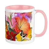 Tazza con farfalle di ibisco, interno bianco / rosa