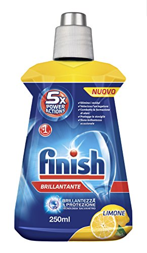 Finish 8172348 - Pack de 16 botellas de abrillantador de limón para lavavajillas, 6 x 250 ml