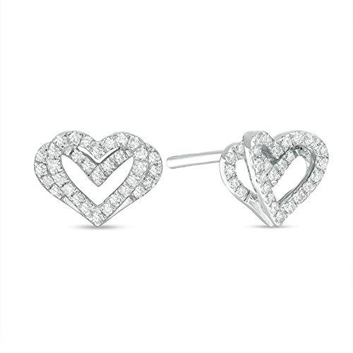 2Hearts 1/3 CT. T.W. Pendientes de botón de diamantes con CZ transparentes Hermoso regalo para mujeres y niñas en plata de ley 925
