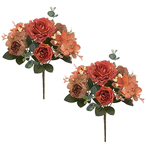 Canghai Peony Flores artificiales 2 paquetes de ramo de hortensias de seda de peonía, arreglos de flores realistas vintage, ramo de flores de boda, decoración de fiesta de oficina (color mezclado)