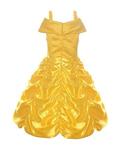『Relibeauty Little Girls Layered Princess Belle CostumeドレスUp,イエロー』の4枚目の画像