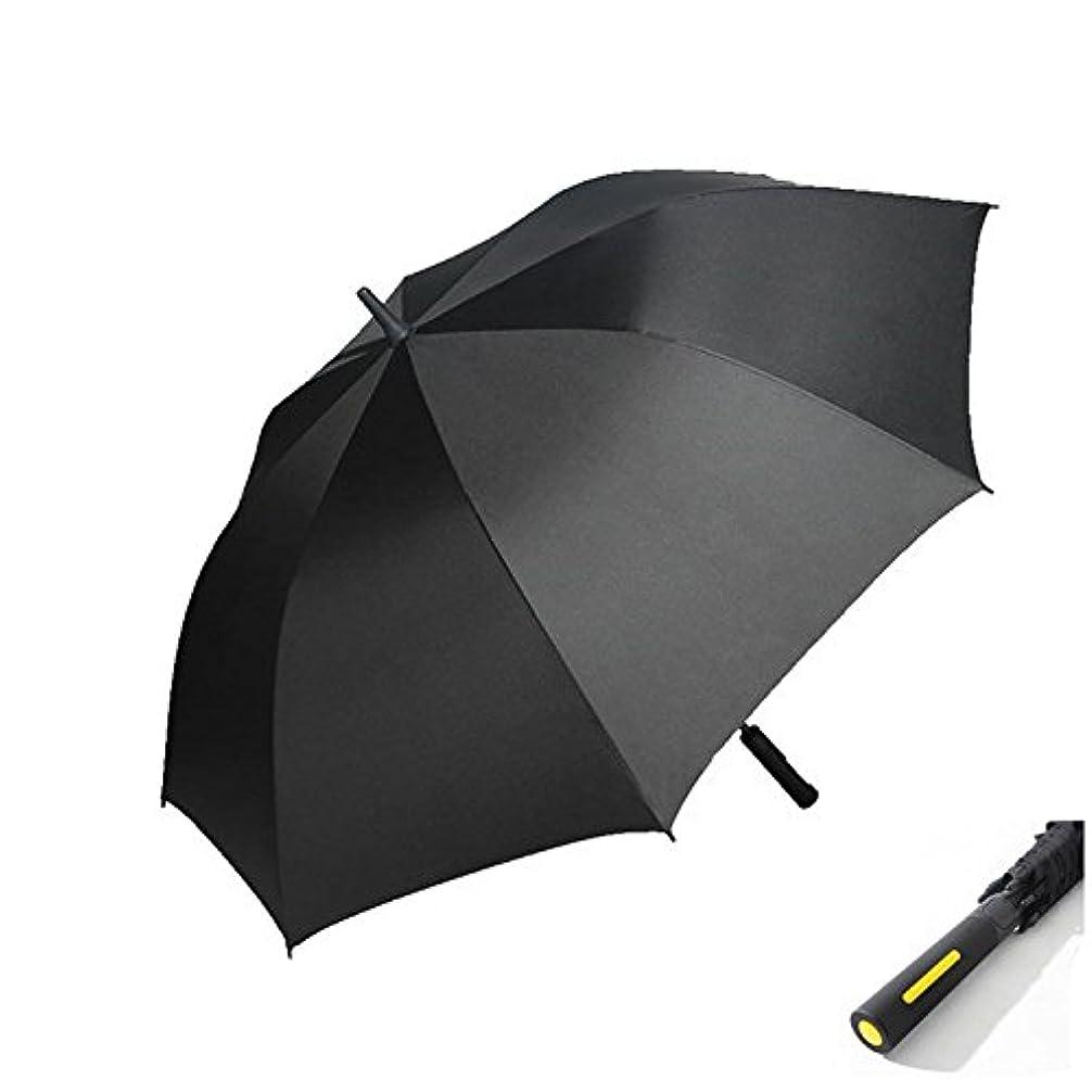 楽なビール噴水長傘 ゴルフ用長傘 大きな傘 梅雨対策 紳士傘 耐風傘 撥水加工 車載 ブラック 大判 8本骨 半自動
