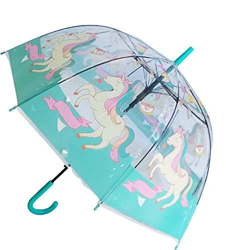 Goods4good Paraguas Transparente con diseño de Unicornios, para Mujeres, niñas Adolescentes,...