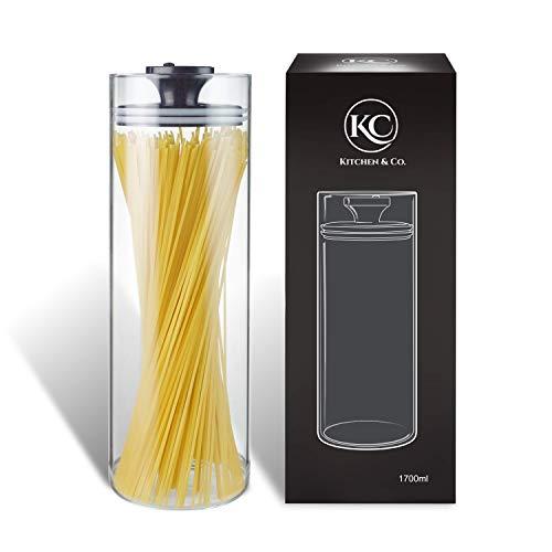 Kitchen&Co. Vorratsgläser mit Vakuumdeckel, Luftdichte Aufbewahrung, Vorratsdose mit Deckel, mottensichere Gläser, Kaffeedose aus Glas, BPA-frei, Borosilikatglas Behälter
