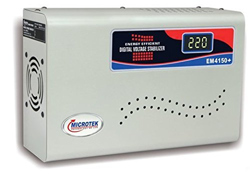 Snowbird Microtek Em4150 Digital Voltage Stabilizer (150-280V) (Upto 1.5Ton Ac), Grey