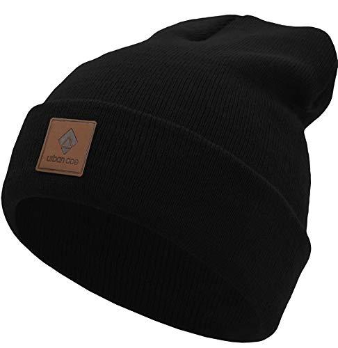 urban ace | Street Classics | Beanie, Mütze, mit Lederpatch | Damen, Herren | für das ganze Jahr, weicher Stoff (Schwarz)