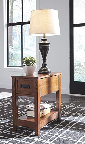 Signature Design by Ashley Breegin New Traditional Wooden Chair Side End Table with 1 Drawer and 1 Fixed Shelf, Brown