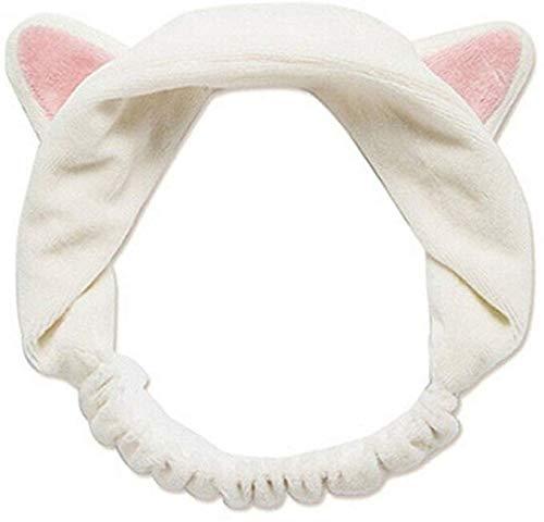 Mode chat oreilles en peluche bandeau femmes couleur unie cheveux bandeau fille douce bandeau visage douche tête de douche avec ruban de maquillage élastique bande de cheveux élastique (White)