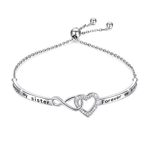 925 Sterling Silver Heart Infinity Inspirational Bracelet Engraved 'Always My Sister, Forever My Friend' Adjustable Sisters Bracelets Friendship Jewelry for Women