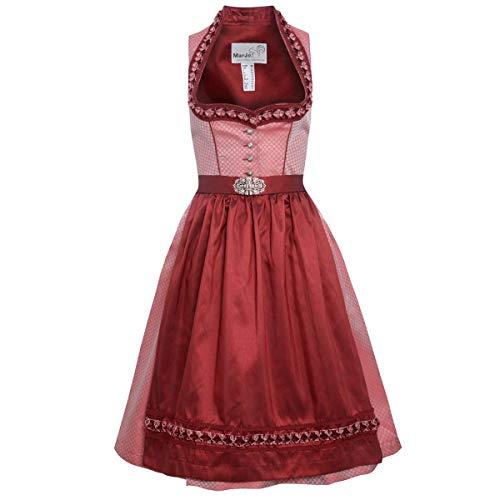 MarJo Trachten Damen Trachten-Mode Midi Dirndl Adona in Rot traditionell, Größe:46, Farbe:Rot