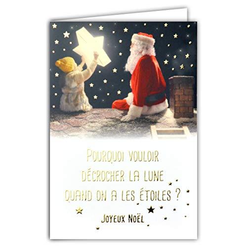 Kaart Vrolijk Kerstmis tekst, waarom je de maan, als je de sterren hebt, Kerstman open haard dakladder kleine papa Kerstmis rode muts baardmuts kinderen meisjes goud verguld