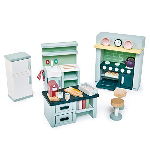 Tender Leaf Toys - Dovetail Dollhouse Accessories - Detailed Ultra Stylish Wooden Furniture Sets and Room Decor - Encourage Creative and Imaginative Fun Play for Children 3+ (Dovetail Kitchen Set)