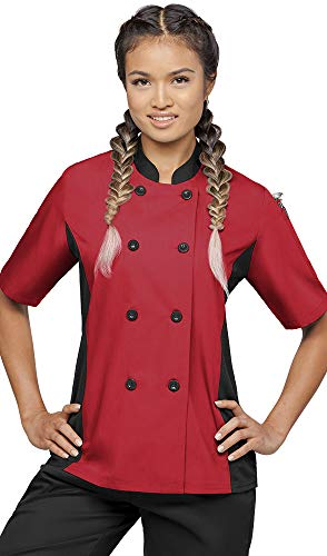 Women's Short Sleeve Chef Coat with Mesh Side Panels (XS-3X, 4 Colors) (X-Large, Red/Black)