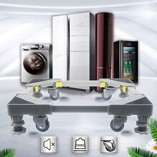 DoNey Waschmaschinen Untergestell Podest Waschmaschinensockel (Gelb), mit 4 drehbarem Gummi Räder und 4 Höhenverstellbare Füße Stand, Roller Trolley Basis für Trockner, Waschmaschine und Kühlschrank