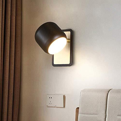 Luces de Pared Negro/Blanco Lámpara de Pared Nórdica Moderno Minimalista Minimalista Hierro Led Led Sala de Estar Aisle Fondo Escalera Balcón Dormitorio Lámpara de Noche 13 * 9 * 11 (Cm) Cobre