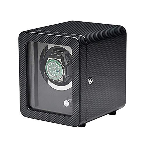 LLSS Enrolladores de Reloj - Agitador de Reloj de Fibra de Carbono Negro con Marco de Puerta Reloj mecánico Dispositivo de bobinado automático Motor silencioso Dispositivo de