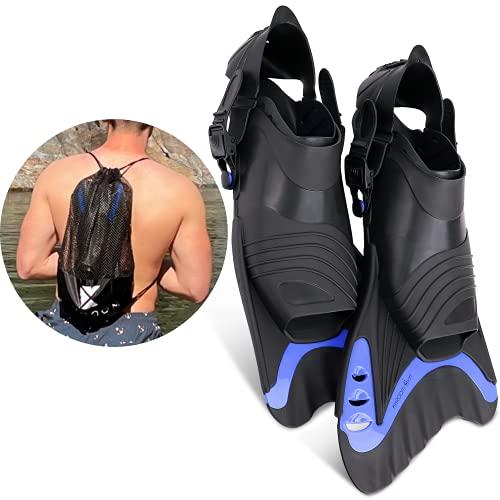 Khroom® Aletas cortas para adultos, para mejorar la técnica de las piernas, triatlón y competición, cuidadosas con las articulaciones y ajustables (azul, 42-47)