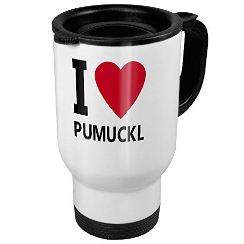 printplanet Thermobecher weiß mit Namen Pumuckl - Motiv I Love - Coffee to Go Becher, Thermo-Tasse
