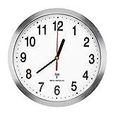 Lawei Horloge Murale Radio-pilotée en Aluminium Silencieuse Pendule Murales pour Salon Cuisine Bureau Chambre - Aluminium, 25 cm