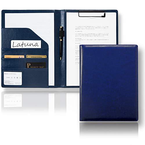 [Latuna] バインダー A4 革 クリップボード プレゼント ギフト 贈り物 PU 高級感 クリップ ファイル 二つ折り 多機能 ペンホルダー ポケット付き 名刺入れ (ネイビーブルー, PUレザー)