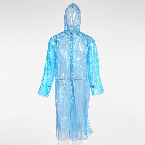 KAEHA transparante regenponcho, wegwerp-regenjas, waterdicht, noodregencoat, voor wandelen en kamperen, regenjas, uniseks, volwassenen, blauw, L