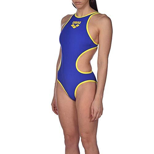 ARENA Bañador Deportivo para Mujer One Biglogo, Mujer, Traje de baño de una Sola Pieza, 001198, Azul neón y Amarillo Estrella, 40