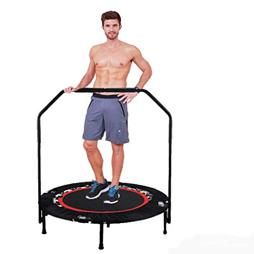 """Hurbo 40"""" Rebounder Trampolines Foldable Exercise Trampoline with Adjustable Handrail for Adults or Kids [US Stock]"""