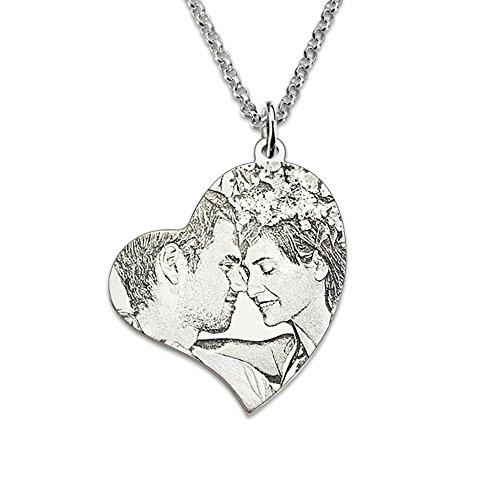 Bo&Pao Kette Damen Halskette mit Fotogravur und Textgravur 925 Sterling Silber,Unisex Herzkette mit personalisierte Foto Herz-Anhänger