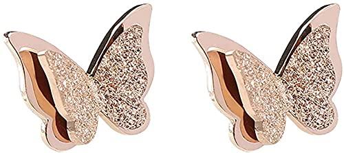 fikujap Pendientes de Mariposa de Regalo Creativo Lindo Simple, Pendientes de Oro Rosa