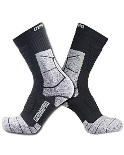 Men's Hiking Socks Breathable Boot Socks w/Anti-Blister Moisture Wicking Germanium & Coolmax Lite-Compression 1/2 prs (Med-Large, 2 Pairs Dark Grey)
