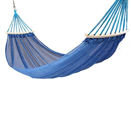 RSdfjLfjd Prevención de Rollover Simple y Doble Hamacas Al Aire Libre/jardín Camping Ocio portátil Playa Swing Cama Colgante del árbol de Hamaca suspendida-Azul 200x125cm(79x49inch)