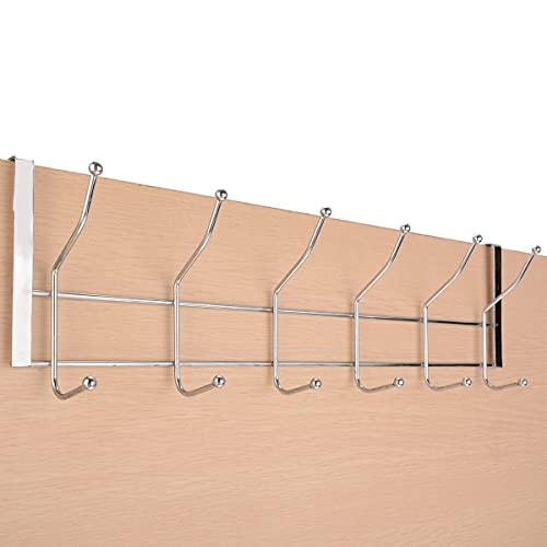 PPuujia 12 ganchos de acero inoxidable sobre la puerta percha abrigo sombrero bolsa de almacenamiento colgante rack hogar puerta ganchos rack
