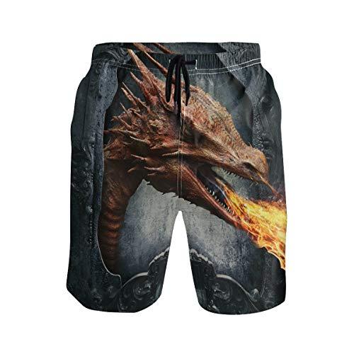 Animal Dragon with Fire Badehose für Herren Jungen Quick Dry Beach Shorts mit Taschen Kordelzug Gr. L/XL, mehrfarbig