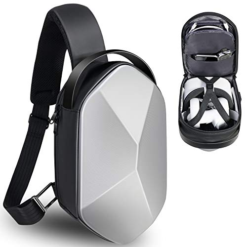 SARLAR Design Fashion Hard Carrying Case for Oculus Quest 2 Headset and Touch Controller Accessories, Crossbody Shoulder Chest Backpack Travel Hiking Bag with USB Charging Port