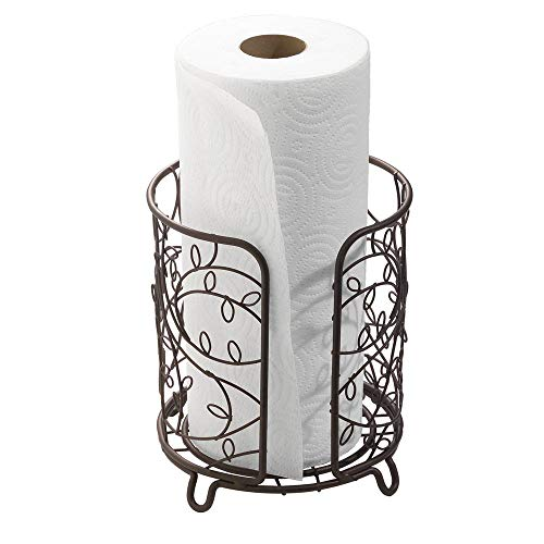 iDesign Twigz Metal Paper Towel Holder, Free Standing Wire Paper Towel Dispenser for Kitchen, Bathroom, Office, Laundry Room, 7.5' x 7.5' x 8', Bronze