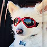 PEDOMUS Dog Goggles Dog Sunglasses Adjustable Strap for UV Sunglasses Waterproof Protection for Dog Red