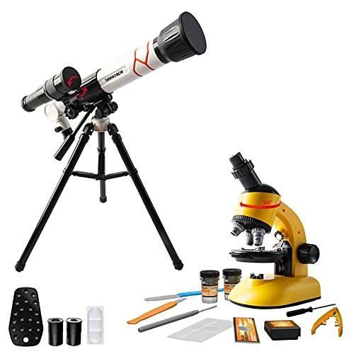 deAO Il Mio Primo Telescopio e Microscopio Divertimento Scientifico 2 in 1 Set di Telescopi e Microscopi con Accessori per Principianti Esplorazione Scientifica e Astronomica per Bambini